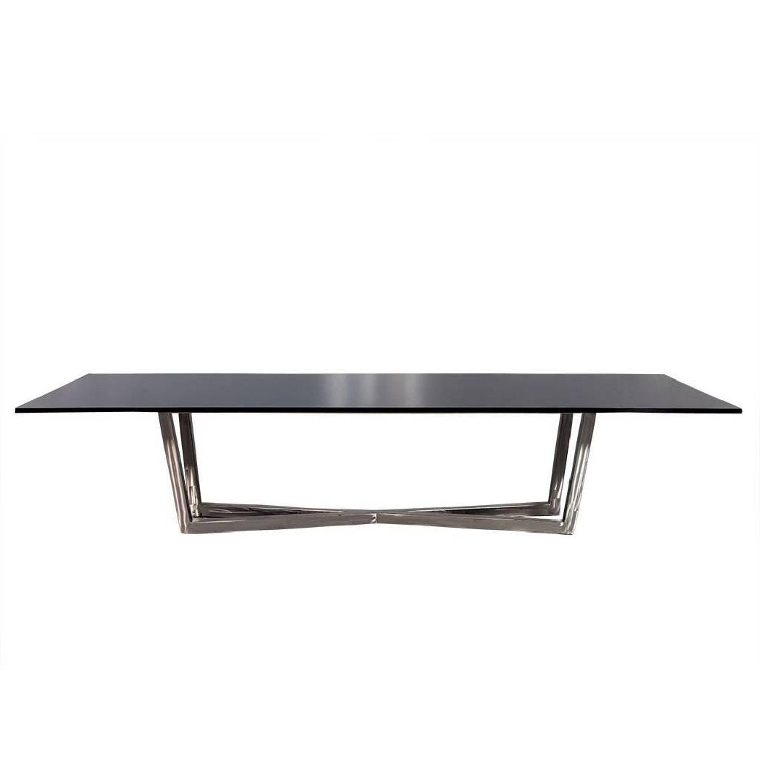 Carrocel Custom Modern Brushed Steel X Base Black Lacquer Dining