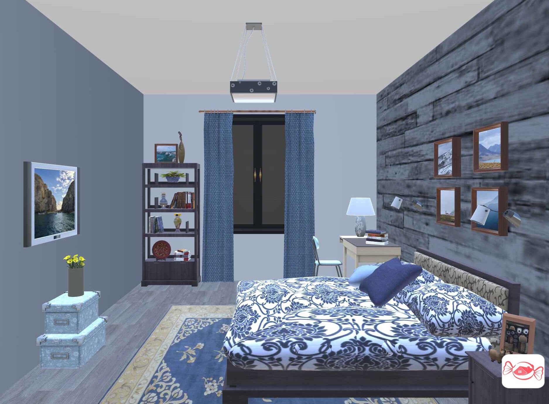 Rustic bedroom design created with Home Sweet Home 3D app