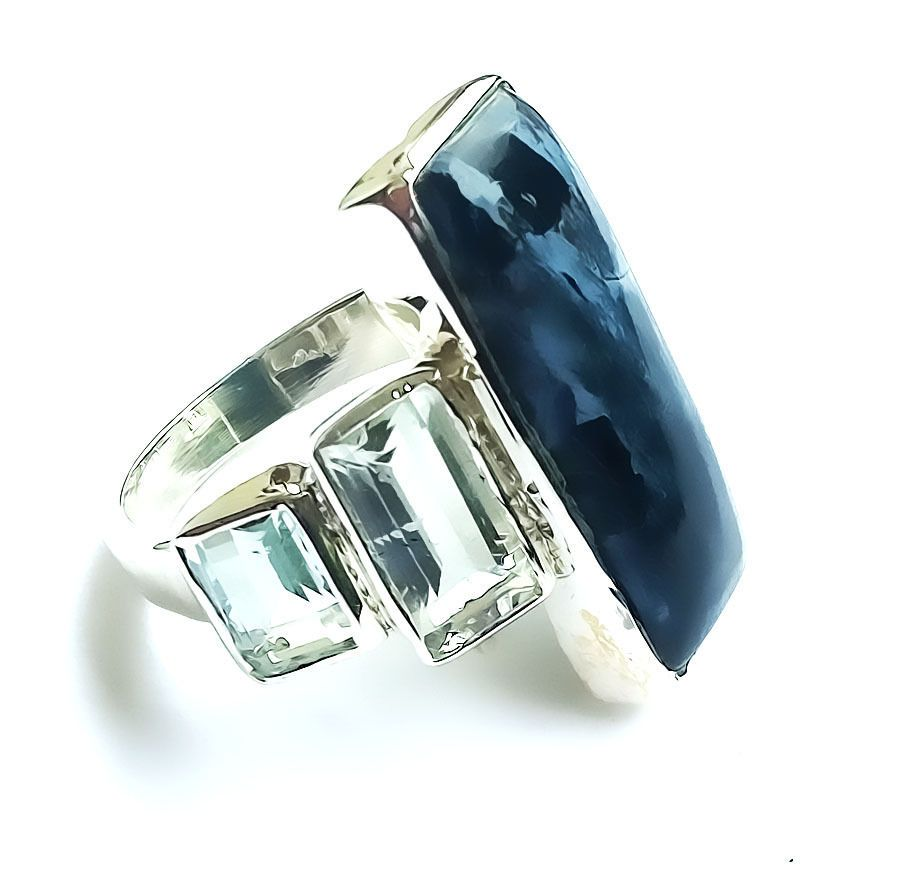 large silver exotic yurman gallery pietersite silverblue band with in jewelry normal david rings lyst stone product ring