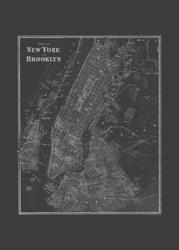 Brooklyn nyc map blueprint map of brooklyn and new york city map brooklyn nyc map blueprint map of brooklyn by encoreprintsociety malvernweather Gallery