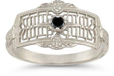 applesofgold.com - Vintage Filigree Black Diamond Ring $475