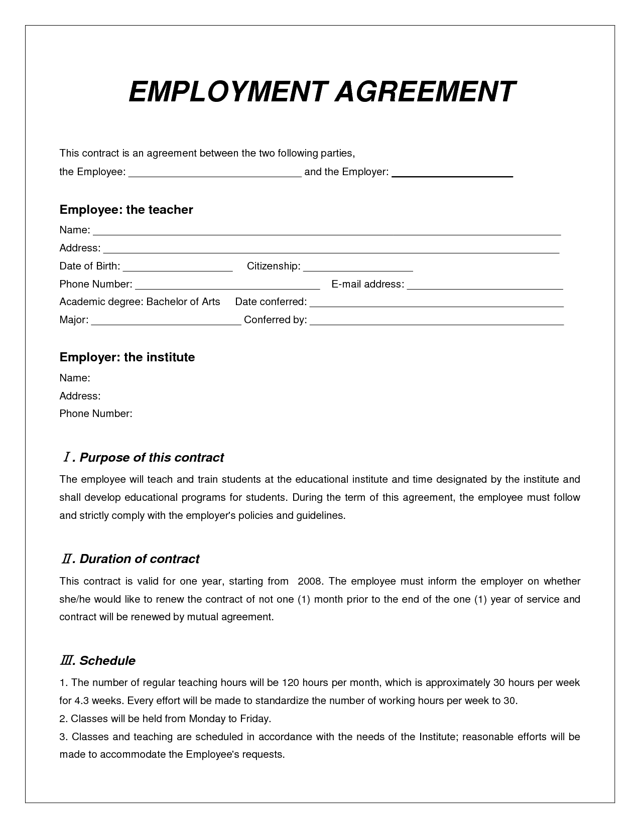 Employment Agreement Contract Template Free Printable