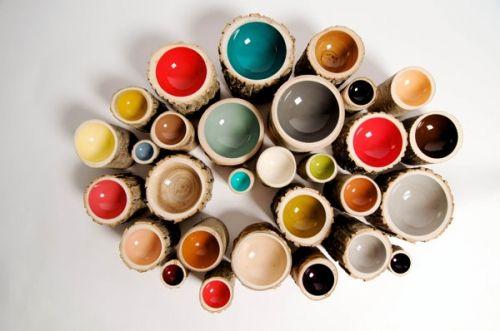 colour glazed wooden bowls