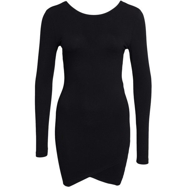 Only Iso L/S Dress ($26) ❤ liked on Polyvore featuring dresses, black, womens-fashion, tall dresses, long sleeve dress, long sleeve jersey, jersey wrap dress and round neck dress