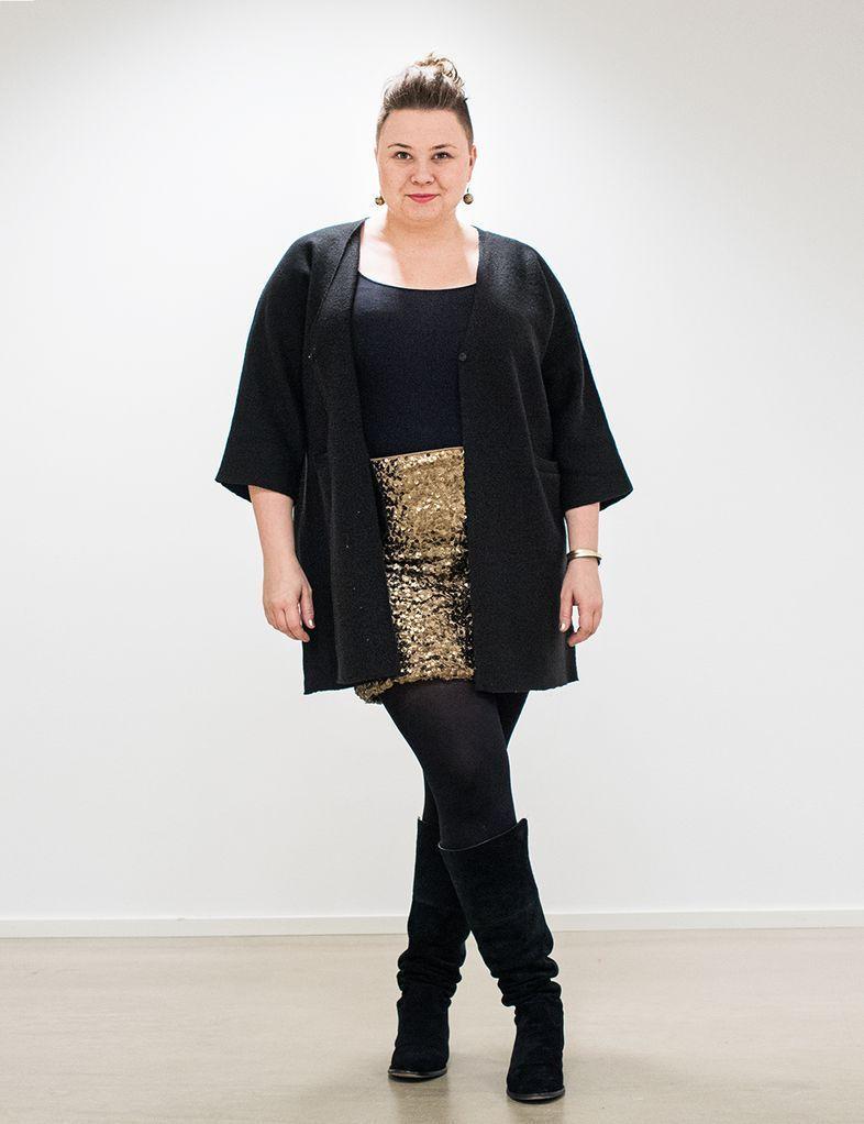 Plus size outfit sequin skirt   black cardigan | Cardigans For Men ...