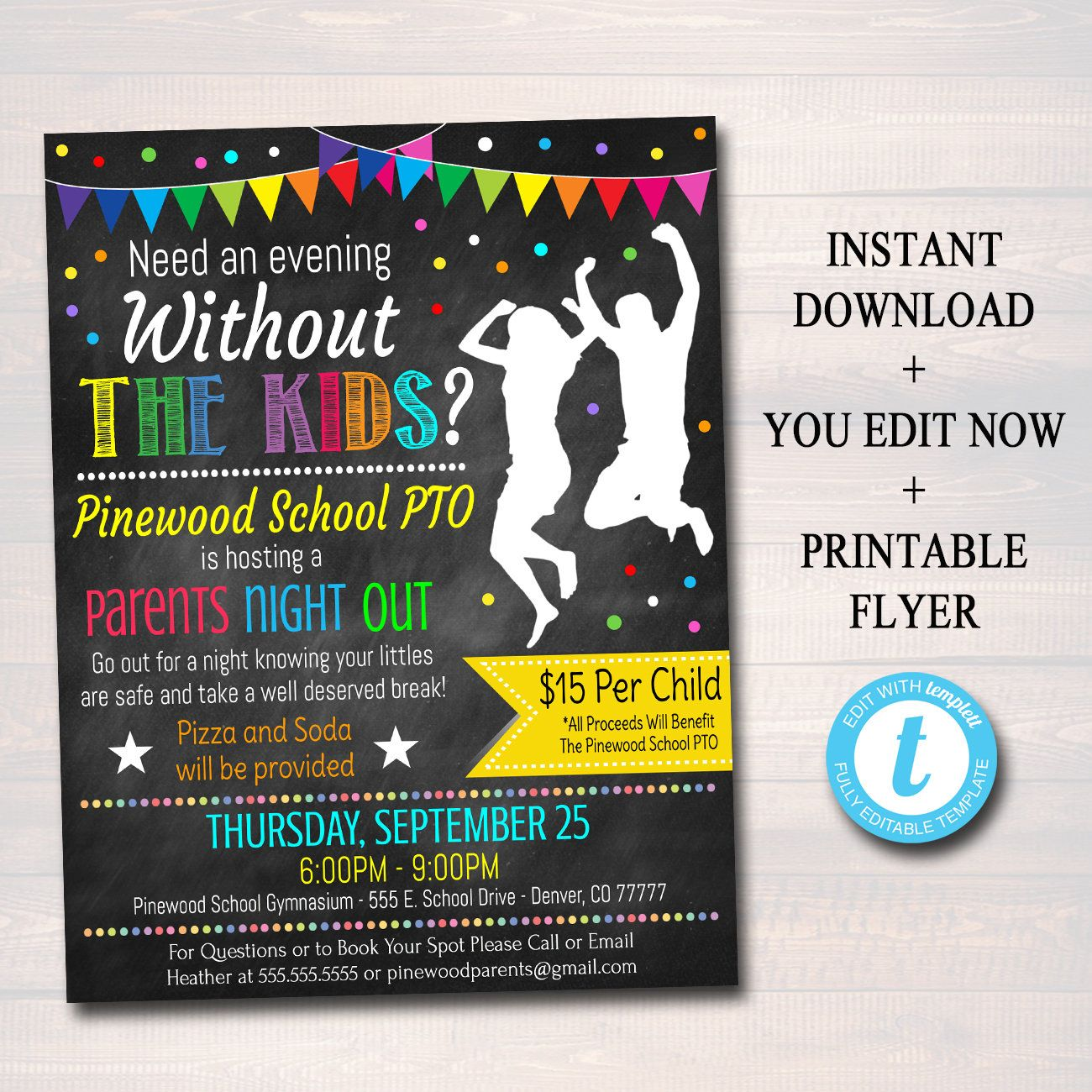 Pin On Fundraising Ideas Parents night out flyer template