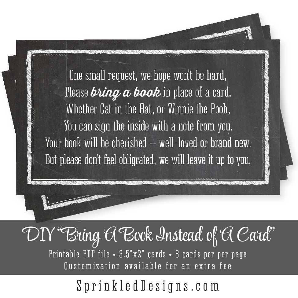 Bring a book instead of a card chalkboard printable