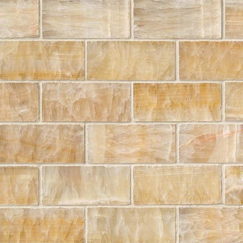 Giallo Crystal Onyx 2x4 Subway Tile Features Rich Yellows And Honey Colors And Lighter Accents And Are Backed With Mesh And A Subway Tile Style Tile Backsplash