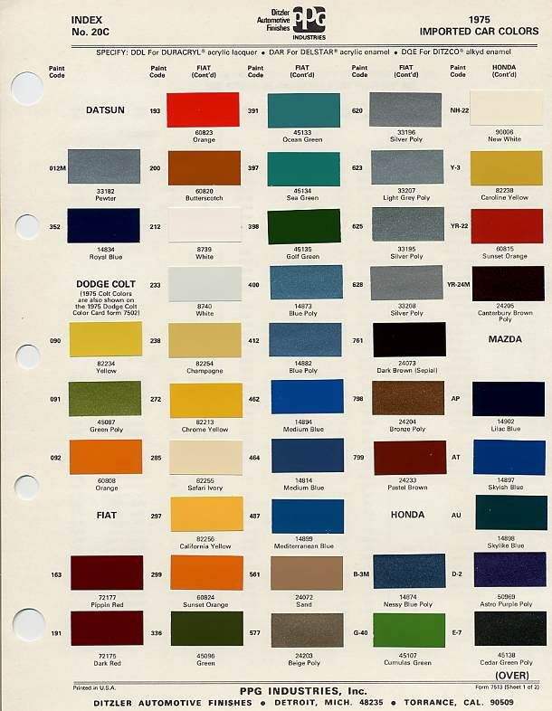 Orange Car Paint Color Chart : orange, paint, color, chart, Toyota, Colour, Chart, Daval