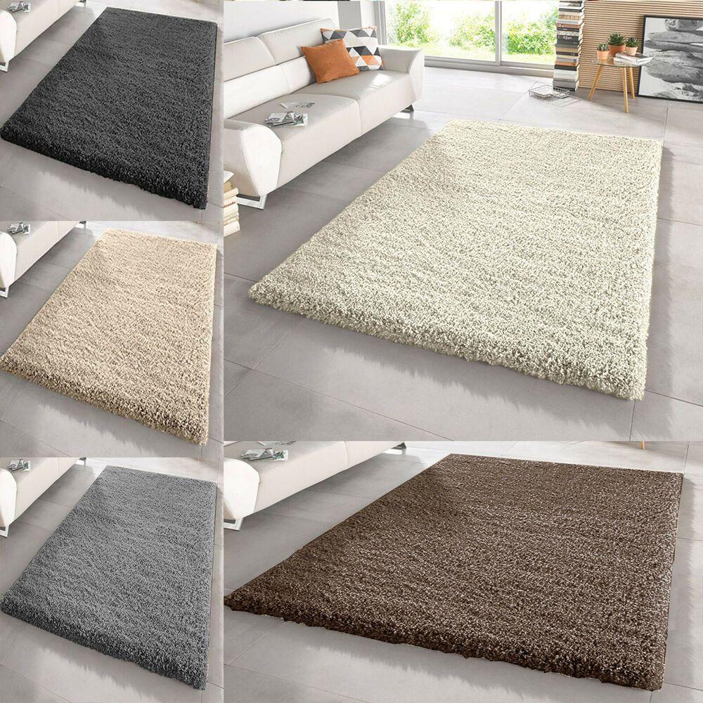 Fluffy Plain Small X Large Thick Modern 5cm Shaggy Rug Non Shad Floor Carpet Mat White Carpet Bedroom Modern Carpets Design Carpet Design