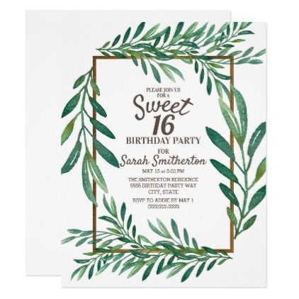 Botanical Green Leaves White Gold Sweet 16 Invitation | Zazzle.com #sweet16birthdayparty