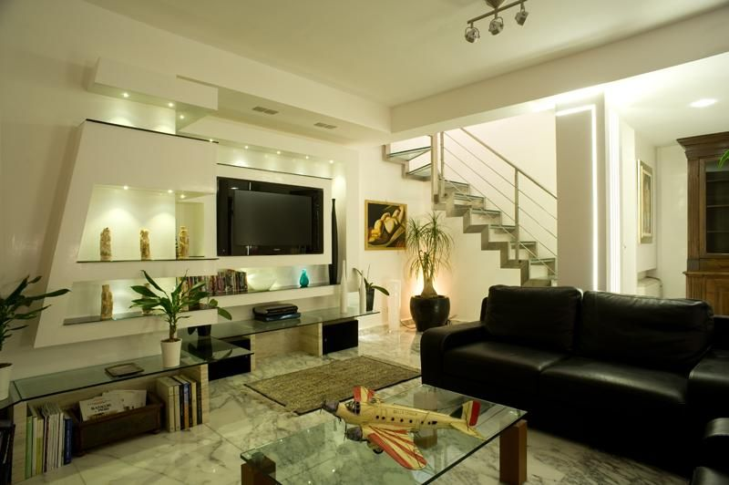Penthouse Modern Living Room With LCD TV, Photo Penthouse Modern Living Room  With LCD TV