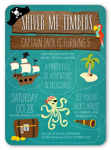 Birthday Invitations Shiver Me Timbers Rounded Corners Blue