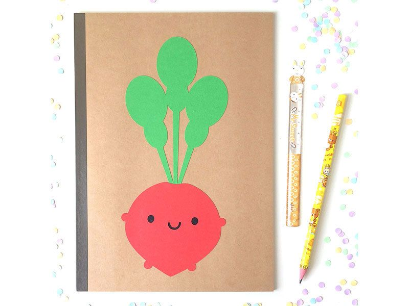 New at askingfortrouble on Etsy: Happy Radish Paper-cut Notebook - Kawaii Vegetables (6.00 GBP)
