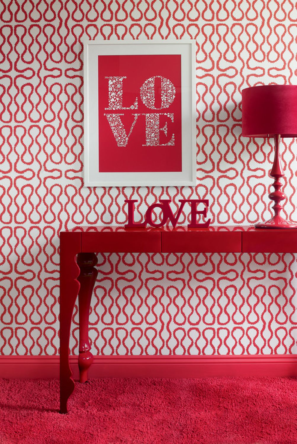 Heals louis console table by john reeves console tables red and white patterned wallpaper with red console table and lamp geotapseo Gallery