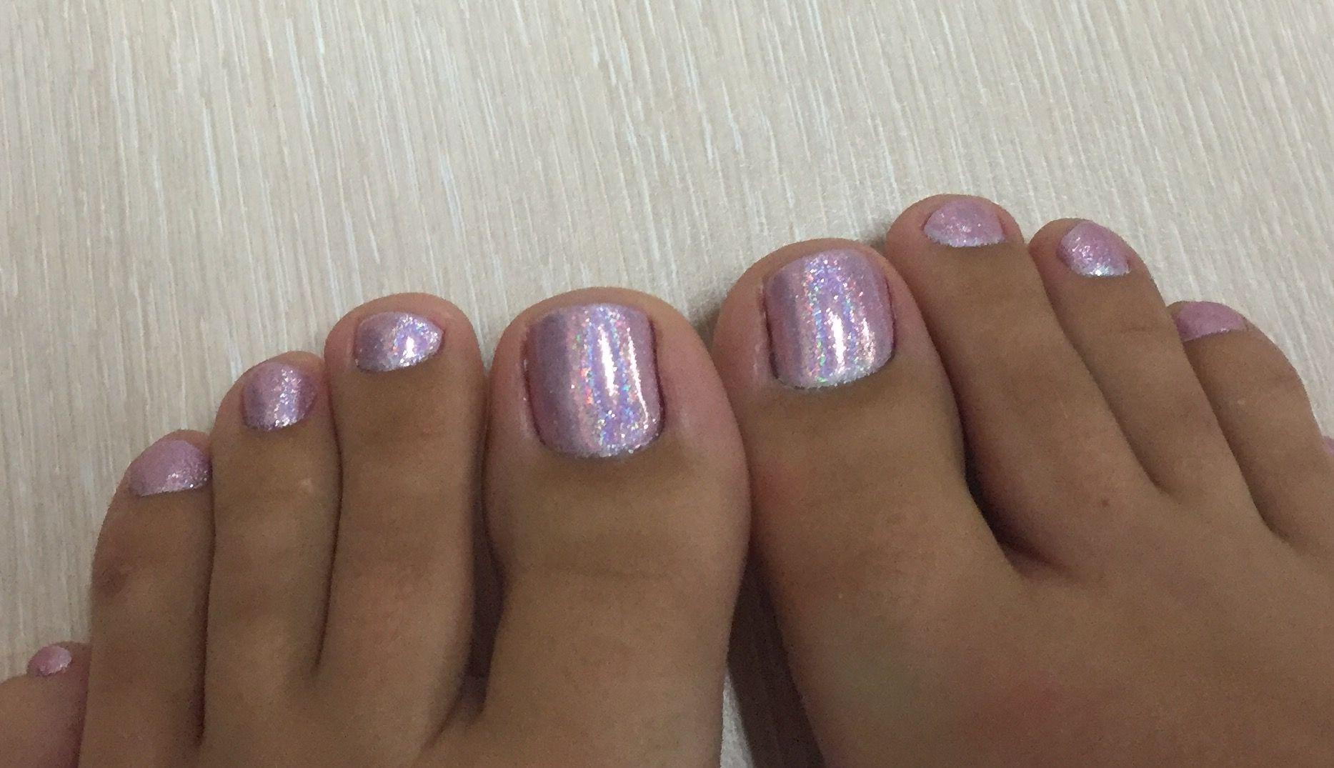 Holographic nails, Barbie toe nails, Pink toenails, Glitter toenails ...