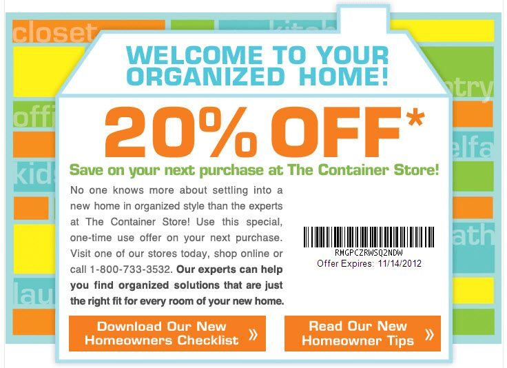20 Off The Container Store Expires 11 14 2012 Save The Children Fashion Organization Container Store