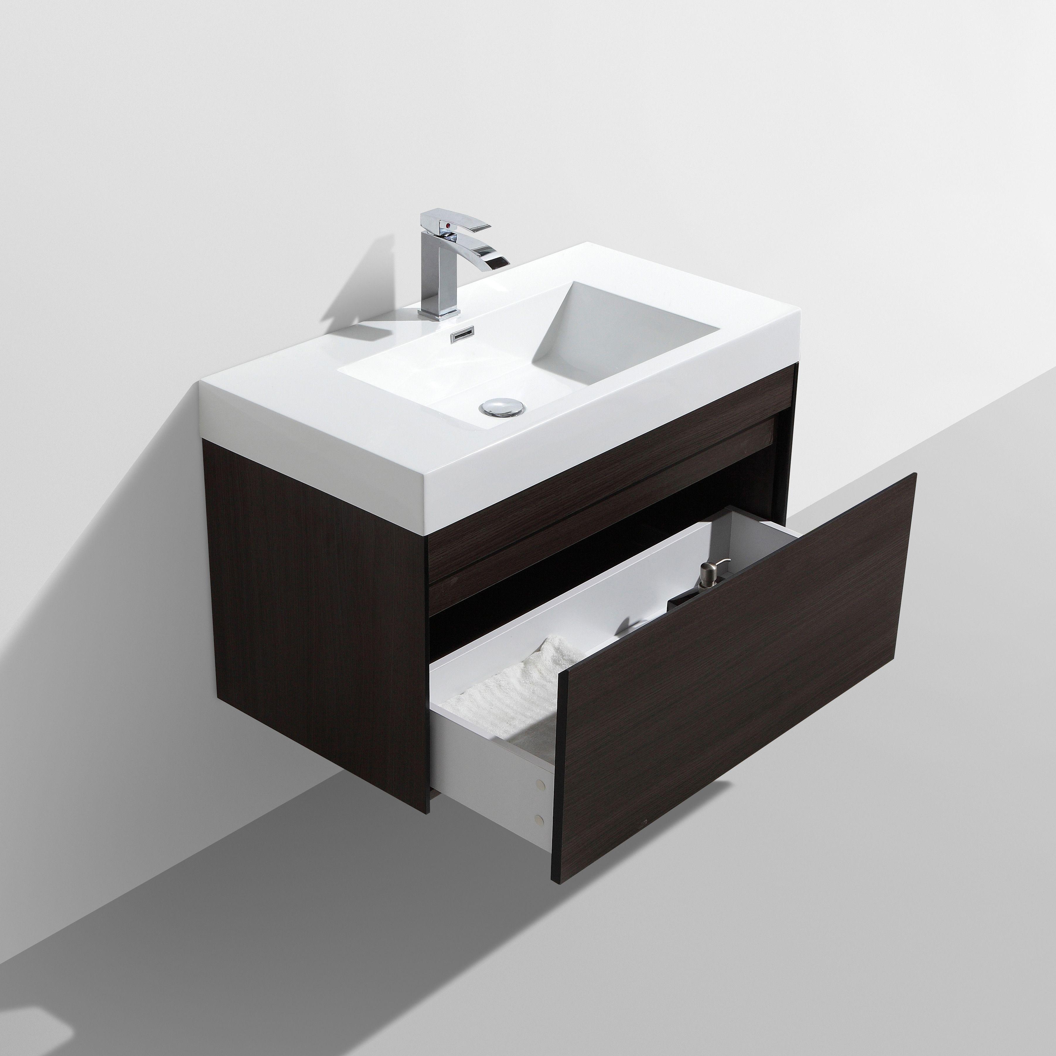 Contemporary Gray Oak Vanity Cabinet