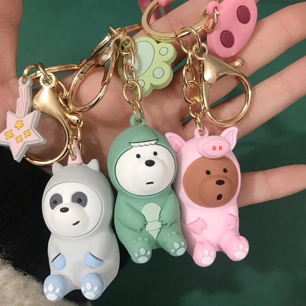 We Bare Bears Bag Ring Doll Accessories Plush Toy Grizzly Panda Ice Bear Key
