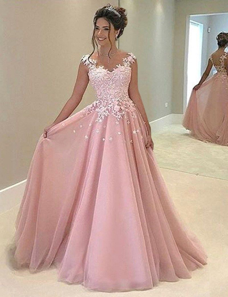 A-Line V-Neck Sleeveless Sweep Train Pink Prom Dress with Appliques ...
