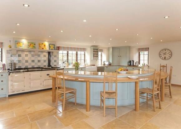 Delightful Kitchen Open Plan Kitchen, Tiled Flooring, Large Circular Kitchen Island,  Painted Kitchen Units