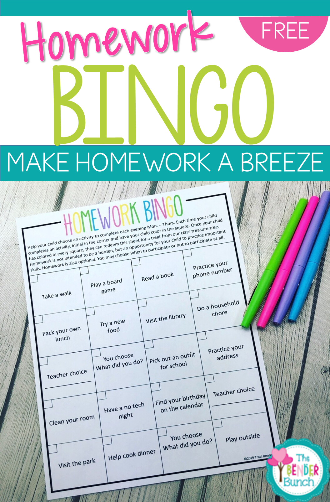 Homework Bingo Editable Freebie