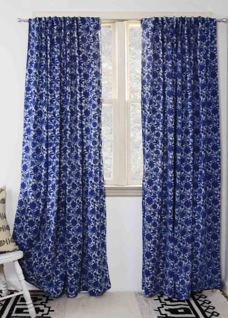 Floral Curtains Blue And White Window Curtains Window Boho Shabby