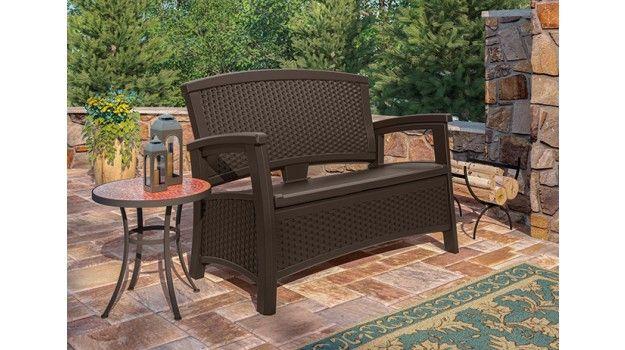 Suncast Elements Loveseat With Storage Java Patio Storage Resin Patio Furniture Backyard Furniture