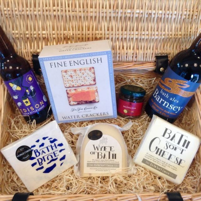 Bath Soft Cheese And Local Beer Hamper Hilary Rhodes On Weshop Beer Hampers Wine Hampers Soft Cheese