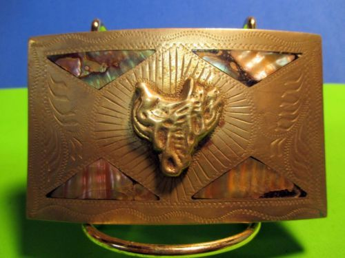 Custom Made Saddle Hand Engraved & Inlaid Alpaca Mexico Belt Buckle MAKE OFFER $55.00 or Best Offer