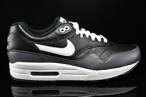 Nike Air Max 1 Leather Black White Dark Grey 654466 001