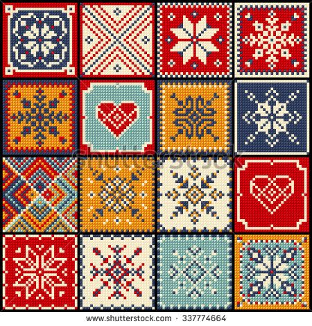 Set patchwork knitted with a New Year's snowflake motif. Christmas background. Pop art.
