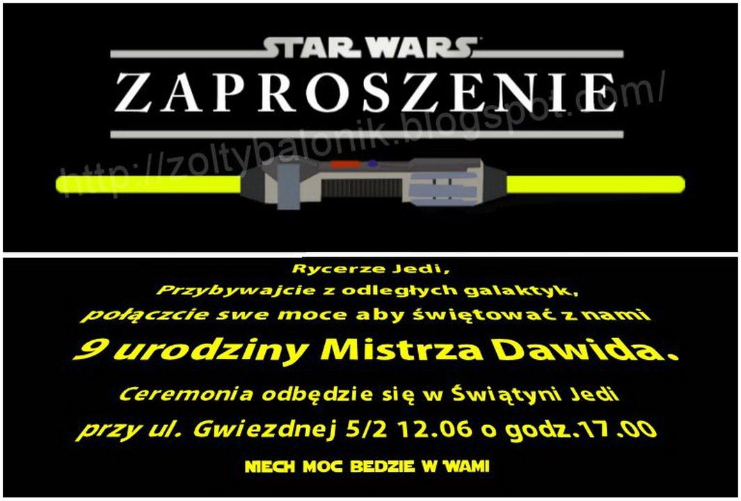 żółty Balonik Star Wars żółty Balonik Zaproszenie Przyjęcia