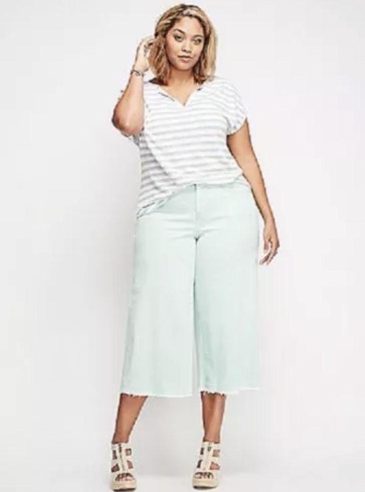 184a7398d10 Lane Bryant Women s Plus Size 22 Mint Green Crop Capri Denim Wide Leg Pants   LaneBryant  CapriCroppedWideLeg