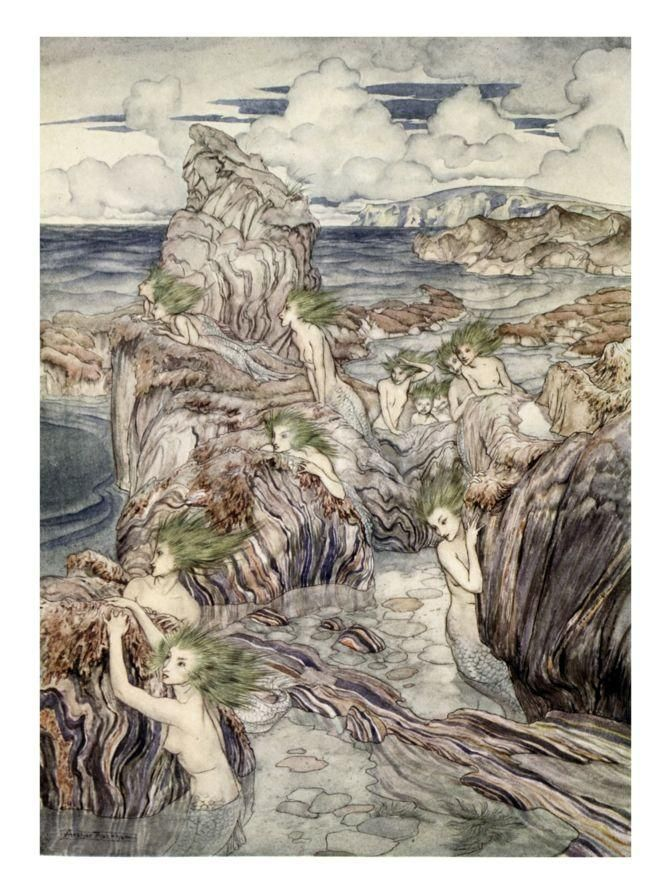 They Have Sea-Green Hair, Illustration from 'A Wonder Book for Girls and Boys' Giclee Print by Arthur Rackham at Art.com
