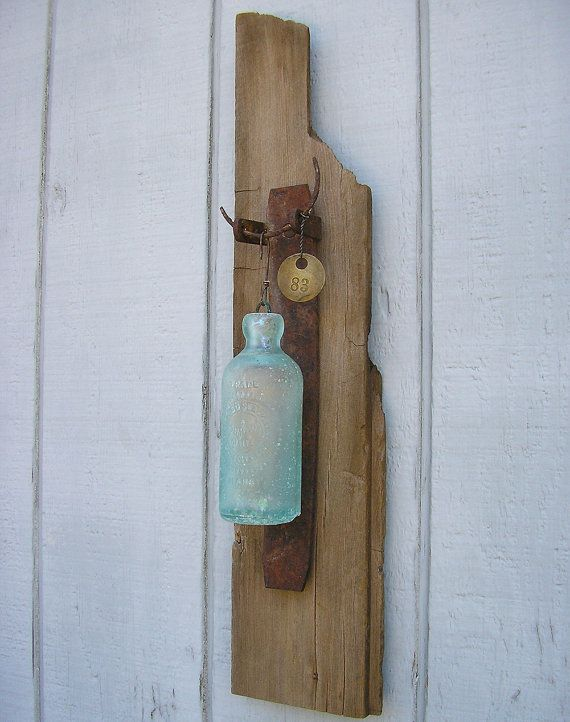 Vintage 1890 39 s hutchinson soda bottle wall hanging for Home decor using plastic bottles