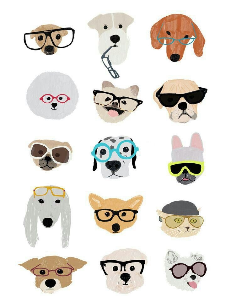 Lovely Humorous Print Dogs With Glasses A Featuring Loads Of Different Breeds Happy Wearing