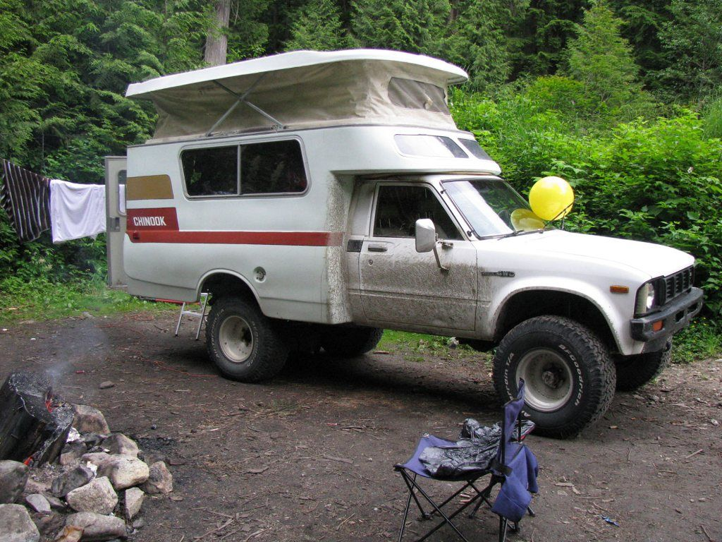 1976 Toyota Chinook shell on a 1980 Toyota longbed 4x4 pickup