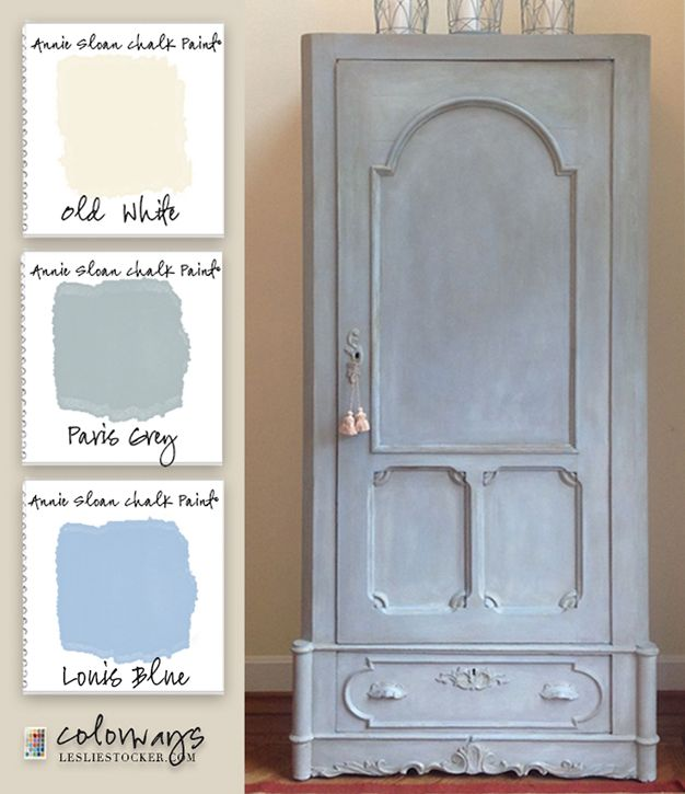 Paris Gray Kitchen Cabinets: Colorways With Leslie Stocker » The Louis Blue, Blues Armoire Painted In Annie Sloan Chalk Paint