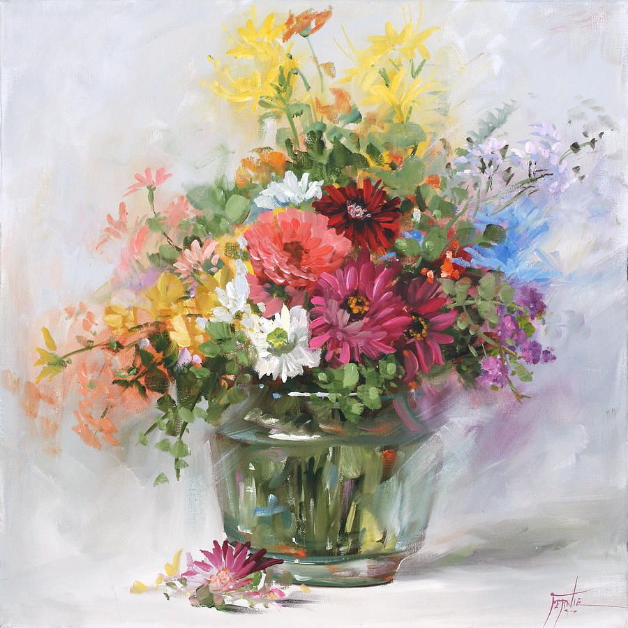 Spring flowers in a jam jar from the flower painting by anne mixed flowers in a glass vase 2555 by fernie taite reviewsmspy