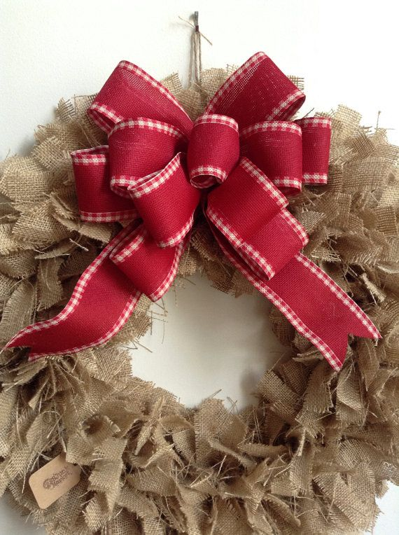 Burlap Christmas Wreath LARGE 24 Tan Wreath by JBJunkMarket