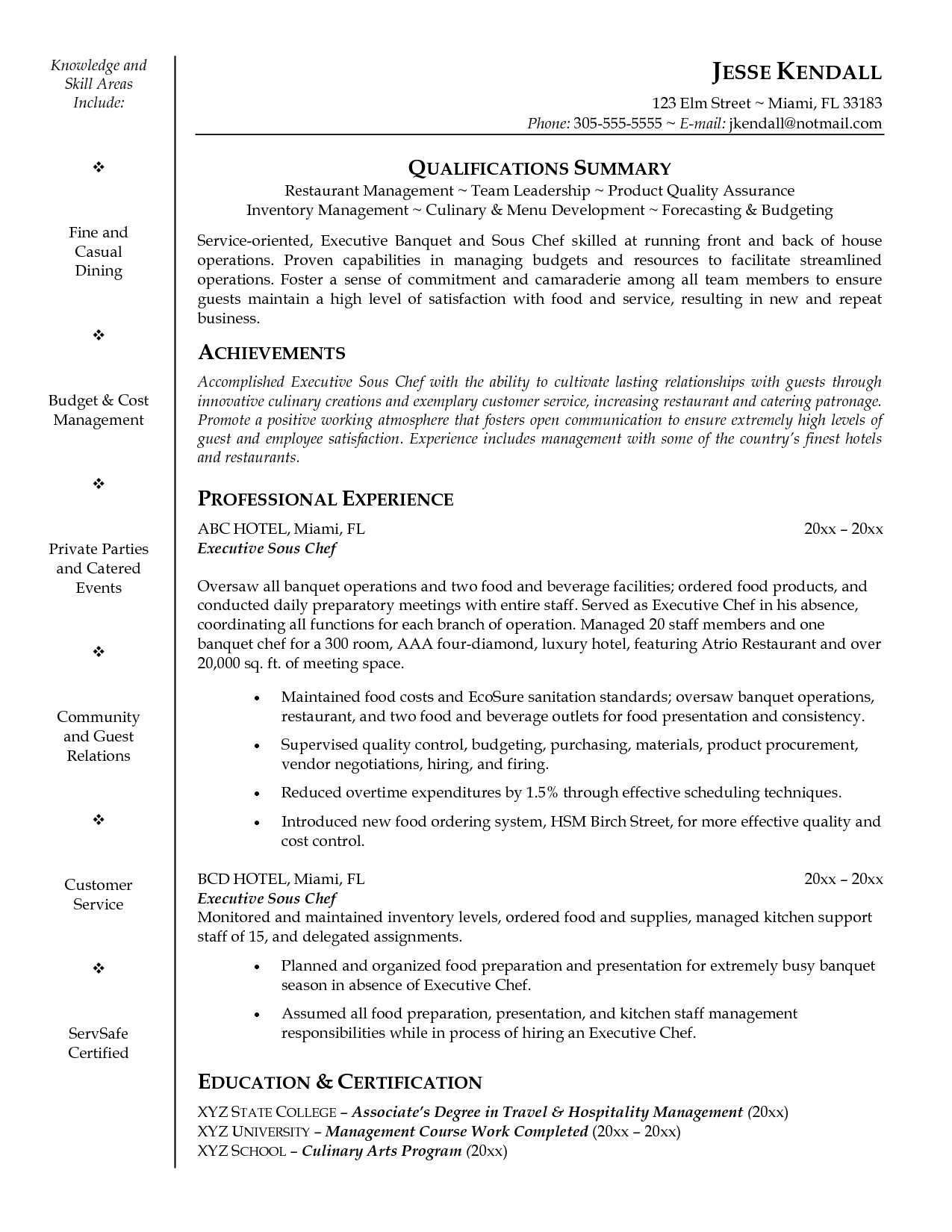 Executive Chef Resume Template Sous Chef Resume Examples  Httpwwwjobresumewebsitesouschef
