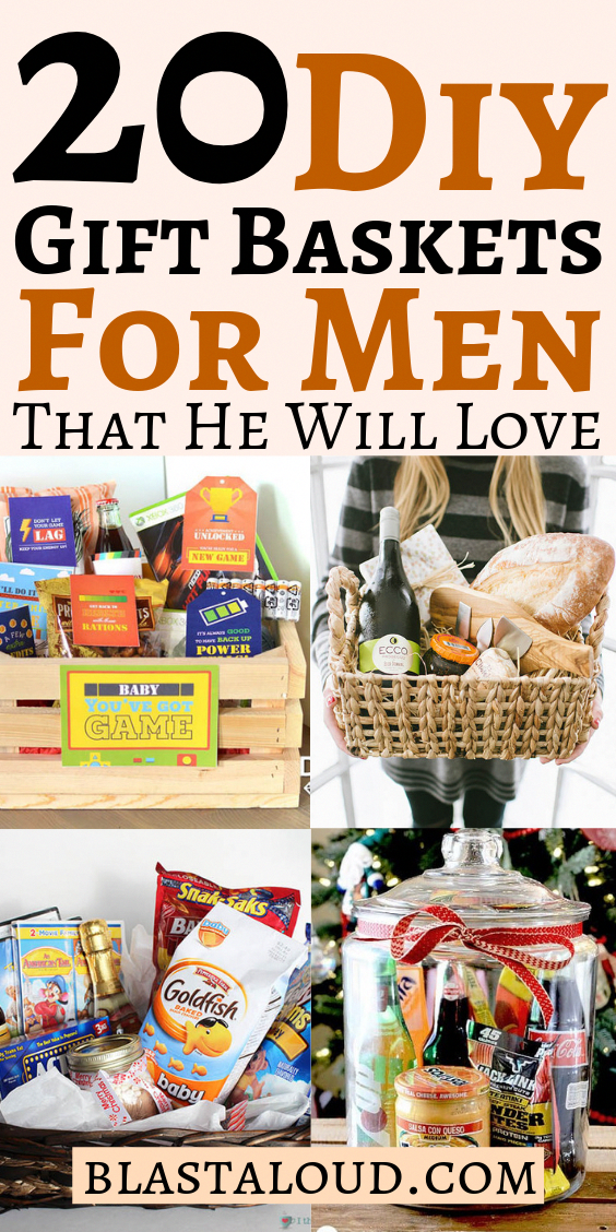 20 Creative And Fun Diy Gift Baskets For Men That You Cannot Go Wrong With These Easy Diy Gifts For Him Wi In 2020 Gift Baskets For Him Baskets For Men