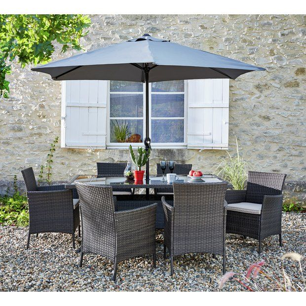 Buy Collection Fiji 6 Seater Rattan Patio Set Grey at