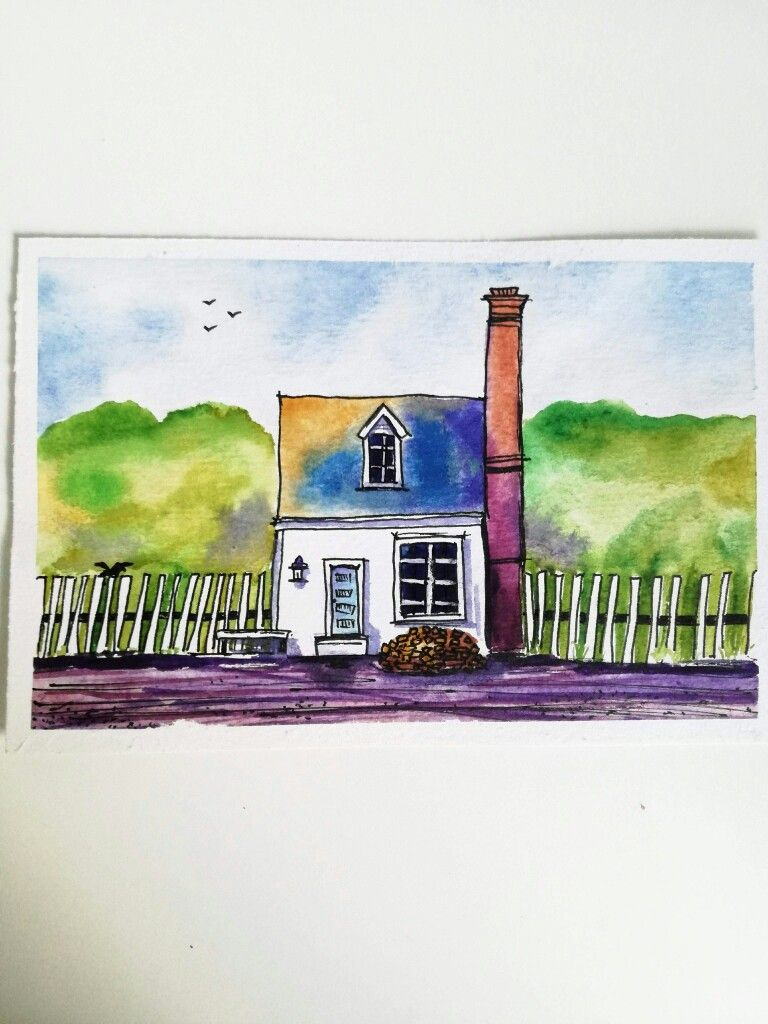Simple Watercolor Painting Watercolor House Easy Watercolor