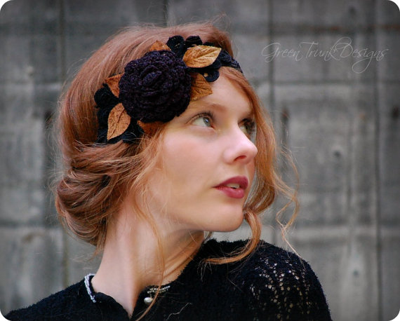 Black Rose Flapper Headband 1920s Downton Abbey Style