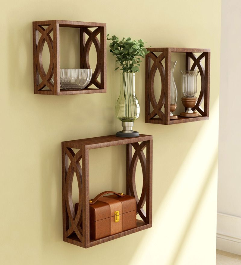 Inexpensive Home Decor Online: Evanescence Eclectic Wall Shelves Set Of 3 In Brown By