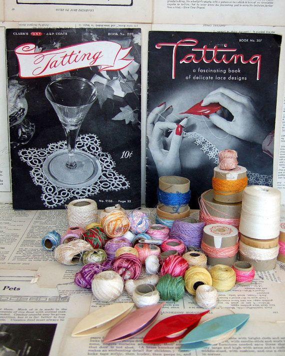 Collection of VINTAGE Tatting books tatting shuttle by jennyelkins,