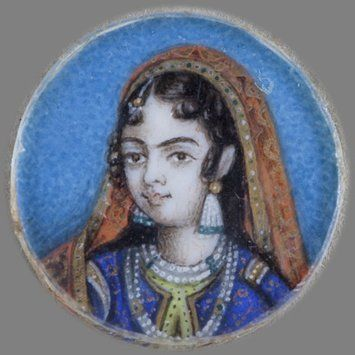 Painting - One of twelve tiny paintings depicting Mughal emperors, Afghan and Sikh nobles, and Mughal ladies.