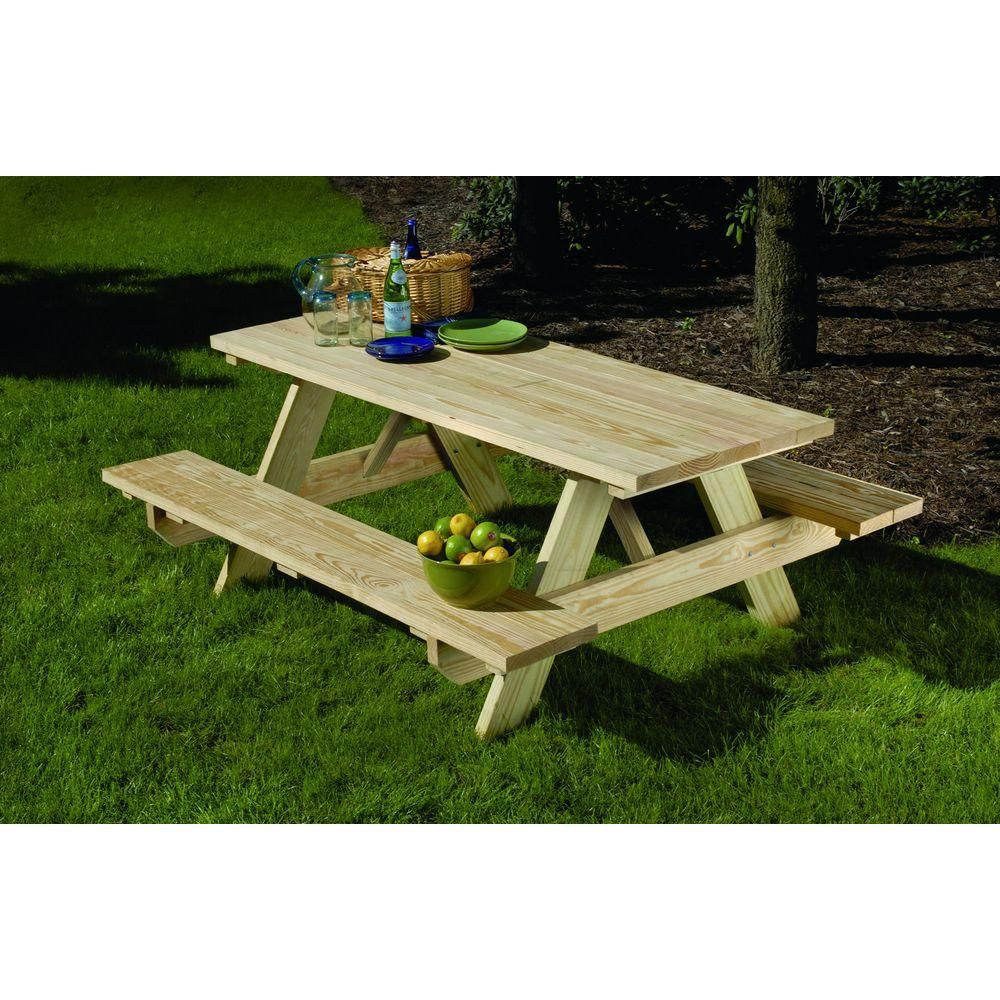 28 in. x 72 in. Wood Picnic Table Picnic table kit
